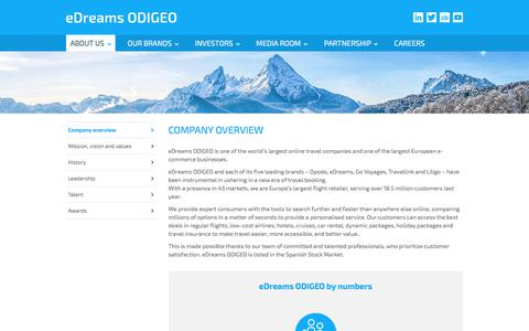 Screenshot of About Page edreamsodigeo.com - Company overview - eDreams ODIGEO - captured July 24, 2018