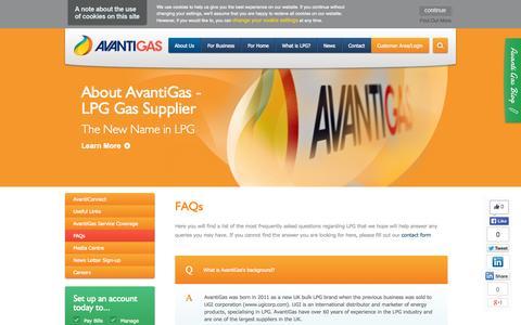 Screenshot of FAQ Page avantigas.com - FAQs - AvantiGas - captured Oct. 4, 2014