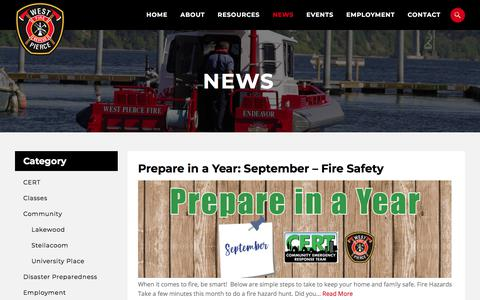 Screenshot of Press Page westpierce.org - News - West Pierce Fire & Rescue - West Pierce Fire & Rescue - captured Sept. 25, 2018