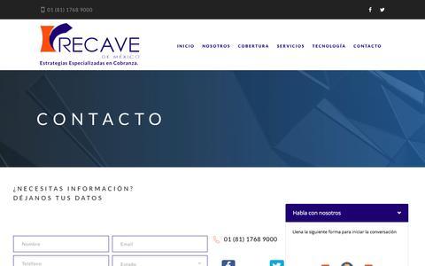 Screenshot of Contact Page recavedemexico.com - Recave de México - captured Dec. 9, 2016