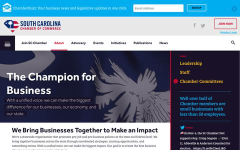 Screenshot of About Page scchamber.net - About | South Carolina Chamber of Commerce - captured Oct. 18, 2018