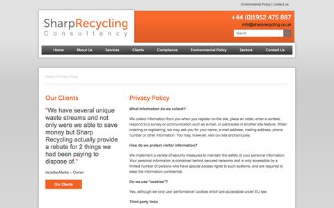 Screenshot of Privacy Page sharprecycling.co.uk - Privacy Policy | Sharp Recycling - captured Oct. 26, 2014