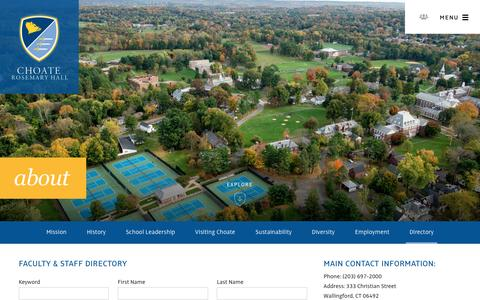 Screenshot of Contact Page choate.edu - Faculty Staff Directory - Choate Rosemary Hall - captured Nov. 5, 2016