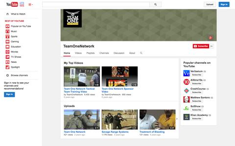 Screenshot of YouTube Page youtube.com - TeamOneNetwork  - YouTube - captured Nov. 5, 2014