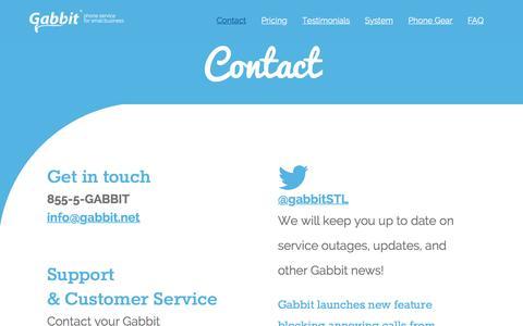 Screenshot of Contact Page gabbit.net - Contact - Gabbit - captured Dec. 7, 2015