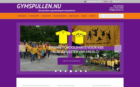 Screenshot of Home Page gymspullen.nu - Welkom bij de specialist in gymkleding en Schoolshirts! - captured Feb. 2, 2016