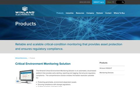 Screenshot of Products Page winland.com - Products | Winland Electronics, Inc. - captured Oct. 20, 2018