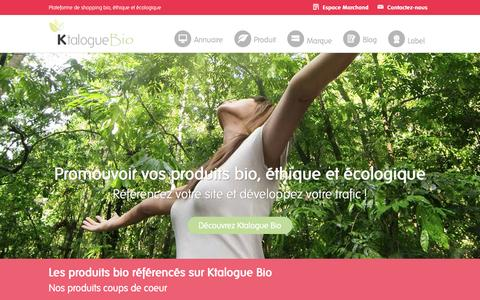 Screenshot of Home Page ktalogue-bio.fr - Ktalogue Bio | Plateforme de shopping bio,  éthique et écologique - captured Aug. 9, 2016