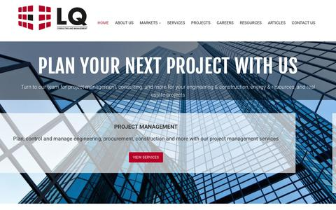 Screenshot of Home Page lqcmi.com - Project Management Consultants Toronto | LQ Consulting and Management - captured Sept. 25, 2018