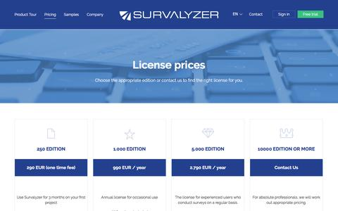 Screenshot of Pricing Page survalyzer.com - License prices - Survalyzer - captured Dec. 1, 2016