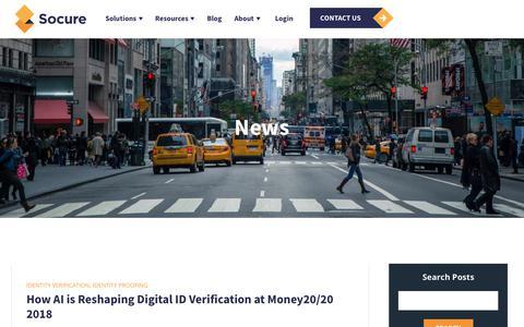 Screenshot of Press Page socure.com - News | ID Verification Services | Socure - captured Oct. 18, 2019