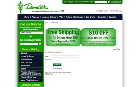 Screenshot of Login Page donaldsuniform.com - Donald's Uniform :: Authentication - captured Sept. 30, 2014