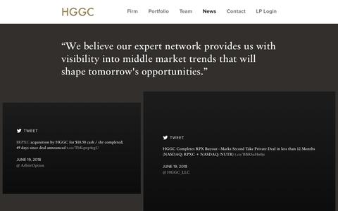 Screenshot of Press Page hggc.com - News | HGGC - captured Sept. 25, 2018