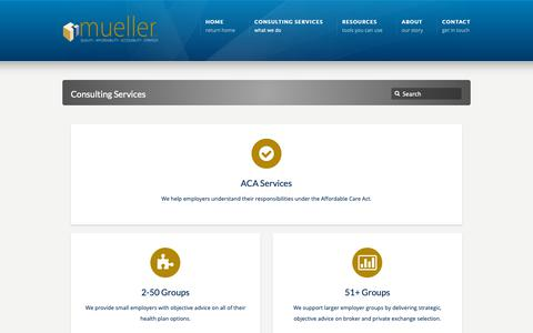 Screenshot of Services Page myqaas.com - Consulting Services - mueller QAAS mueller QAAS - captured Oct. 18, 2018