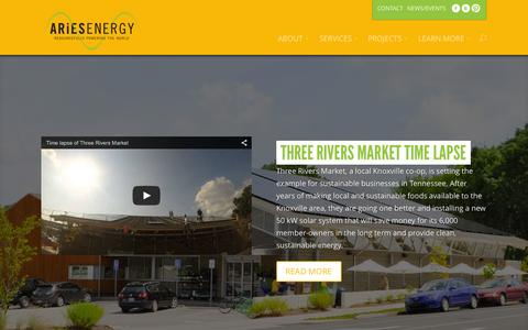 Screenshot of Home Page ariesenergy.com - Aries Energy - Large Scale Energy Independence - Solar Power - Biomass - Electrical Engineering - Power Conditioning - Aries Energy - captured Jan. 24, 2015