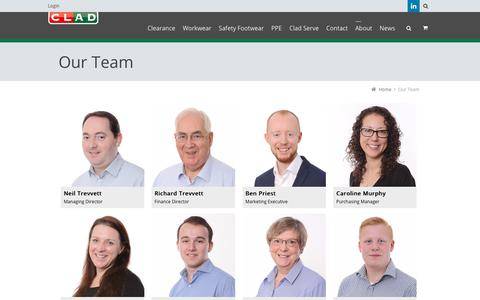 Screenshot of Team Page cladsafety.co.uk - Our Team - Clad Safety - captured July 19, 2018