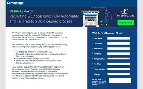 Screenshot of Landing Page cornerstoneondemand.com - CSOD   Webinar: Recruiting & Onboarding: Fully Automated and Tailored to YOUR desired process - captured Sept. 19, 2018