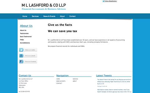 Screenshot of About Page mllashford.co.uk - About M L Lashford & Co LLP - captured Oct. 3, 2014