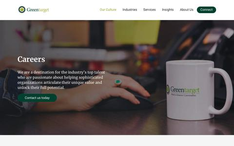 Screenshot of Jobs Page greentarget.com - Careers - captured July 7, 2019
