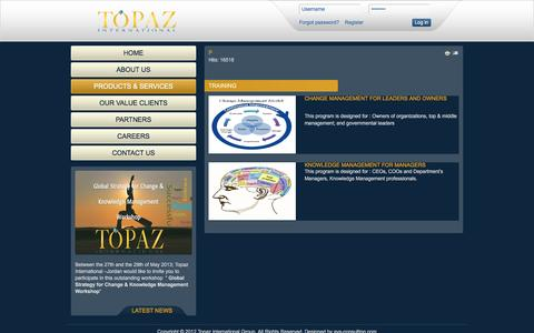 Screenshot of Products Page topazigroup.com - Products & Services - captured Dec. 3, 2016