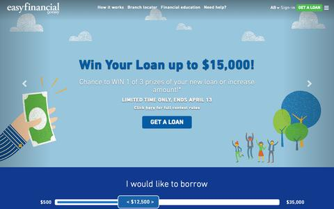 Screenshot of Home Page easyfinancial.com - easyfinancial: Fast Personal Loans Online Even with Bad Credit - captured April 10, 2019