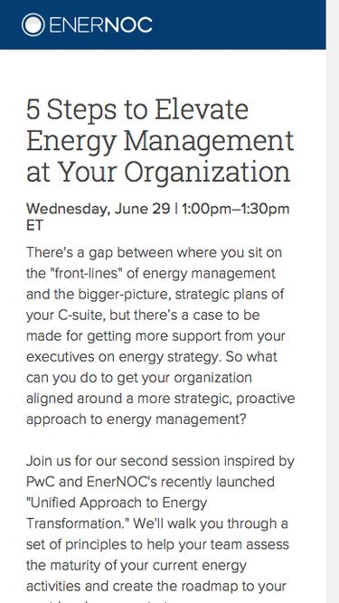 Webinar: 5 Steps to Elevate Energy Management at Your Organization