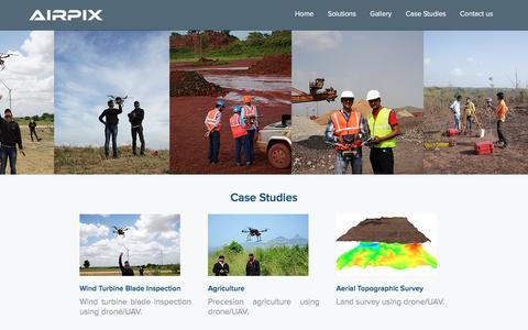 Screenshot of Case Studies Page airpix.in - Case Studies   Drone   UAV   Airpix - captured Nov. 20, 2016