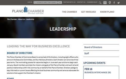 Screenshot of Team Page planochamber.org - Plano Chamber of Commerce Leadership | Plano, Texas - captured Feb. 16, 2018