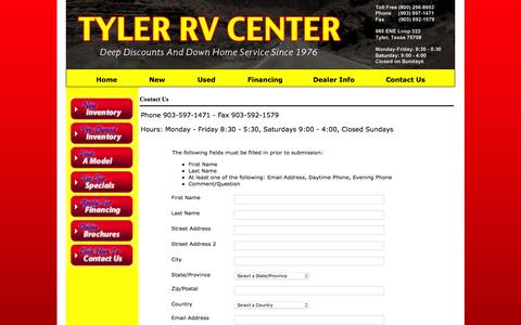 Screenshot of Contact Page tylerrv.com - Contact Us - captured June 17, 2016