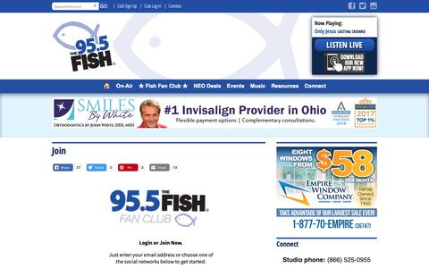 Screenshot of Signup Page 955thefish.com - Join | 95.5 The Fish  - Cleveland, OH - captured Oct. 18, 2018
