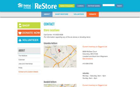 Screenshot of Contact Page Locations Page chesapeakerestore.org - About - Contact Us - Habitat for Humanity of the Chesapeake - captured Feb. 12, 2018