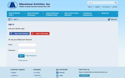 Screenshot of Login Page edact.com - sign in - captured Jan. 26, 2016