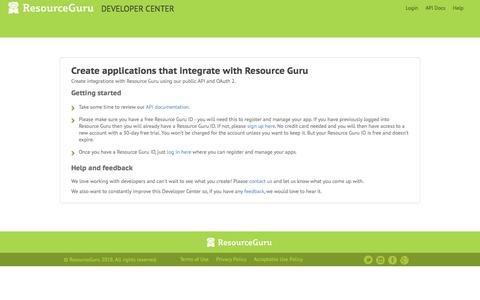 Screenshot of Developers Page resourceguruapp.com - Resource Guru Developer Center - public API and developer information - captured Feb. 6, 2018