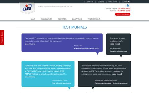 Screenshot of Testimonials Page iescentral.com - IES, Inc. Bakersfield Custom Website Designer and email provider. - captured Oct. 6, 2014