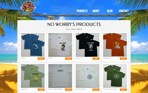 Screenshot of Products Page noworrysclothing.com - Products   No Worrys Authentic Brand - captured Oct. 26, 2014