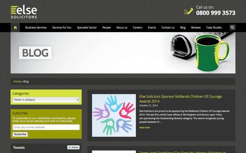 Screenshot of Blog Press Page elselaw.co.uk - Blog - Else Solicitors LLP - captured Oct. 22, 2014