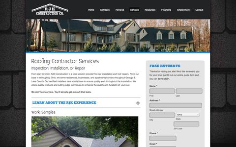 Screenshot of Services Page rjkco.com - Roofing Contractor Services | RJK Construction Co. - captured Oct. 7, 2014