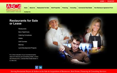 Screenshot of Home Page abc4restaurants.com - ABC4Restaurants- leading business brokerage company servicing restaurants, motels and real estate acquisitions. We serve the Connecticut and New Jersey areas. - captured Dec. 22, 2015