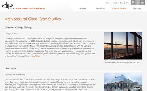 Screenshot of Case Studies Page dip-tech.com - Architectural Glass Case Studies - Dip-Tech - captured Aug. 2, 2016