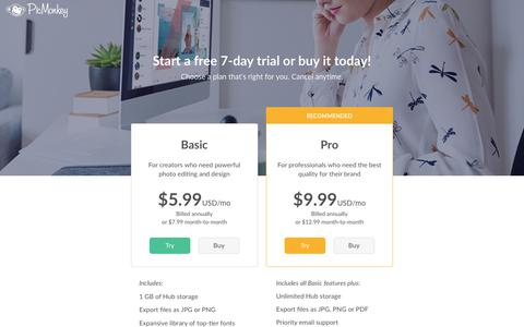 Screenshot of Pricing Page picmonkey.com - PicMonkey - captured Nov. 4, 2018