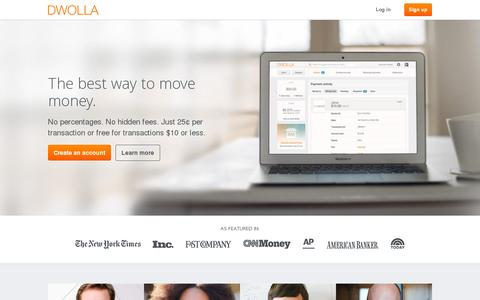 Screenshot of Home Page dwolla.com - Send money online | Dwolla - captured July 11, 2014