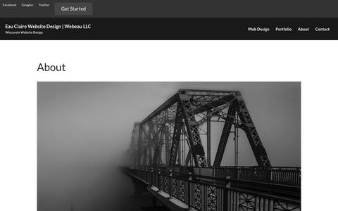 Screenshot of About Page webeau.com - About | Eau Claire Website Design | Webeau LLC - captured Sept. 20, 2018