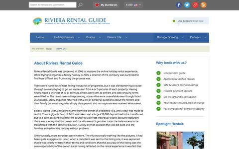 Screenshot of About Page rivierarentalguide.com - About Us | Riviera Rental Guide - captured Oct. 26, 2014