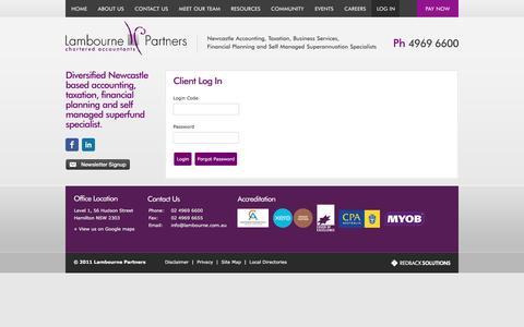 Screenshot of Login Page lambourne.com.au - Lambourne Partners   Chartered Accountants - Log In - captured Oct. 20, 2016