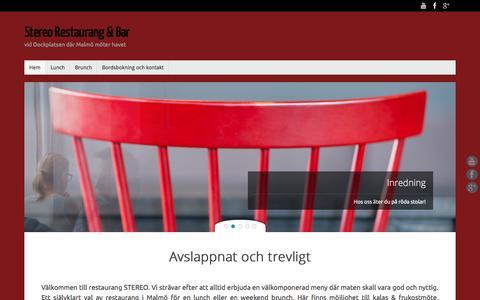 Screenshot of Home Page stereo-malmo.se - Stereo Restaurang & Bar | vid Dockplatsen där Malmö möter havet - captured Sept. 11, 2015