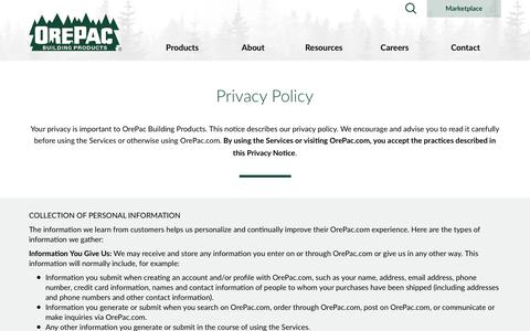 Screenshot of Privacy Page orepac.com - OrePac Building Products - captured Oct. 19, 2018