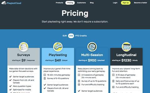 Screenshot of Pricing Page playtestcloud.com - Pricing - PlaytestCloud - captured July 3, 2016