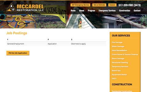 Screenshot of Jobs Page mccardelrestoration.com - Job Postings | Lansing Restoration Company - captured June 10, 2017