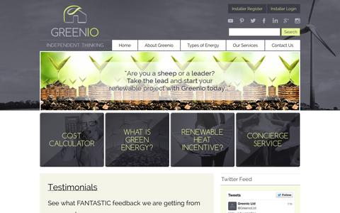 Screenshot of Testimonials Page greenio.co.uk - Testimonials | Greenio - captured Oct. 3, 2014