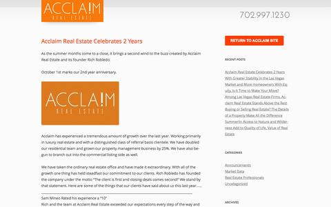 Screenshot of Blog acclaimre.com - Acclaim Real Estate | Acclaim Real Estate Blog - captured Oct. 4, 2014